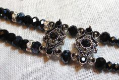 Black Crystal Dual Strand with Rhinestone by JansJewelsofCudahy, SOLD TO A REALLY HAPPY CUSTOMER