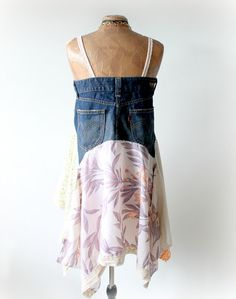 Rustico tunica abito Upcycled Jeans blu di BrokenGhostClothing