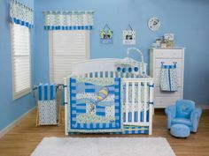 Bedroom Baby Nursery Decor For Boys With Blue Wall Paint Ideas