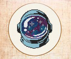 Astronaut cross stitch pattern. Space cross stitch