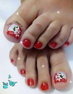Uñas Decoradas 💅 Pedicure Designs, Pedicure Nail Art, Toe Nail Designs, Toe Nail Art, Cute Toe Nails, Cute Toes, Pretty Toes, Painted Toe Nails, Cute Pedicures