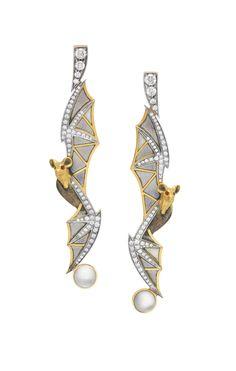 "Moonstone Flight AR-272. 18 kt yellow gold earrings with ""pliqué-à-jour"" and ""basse taille"" fired enamel, diamonds and moonstones.  #jewelry #artnouveau #enamel #barcelona"