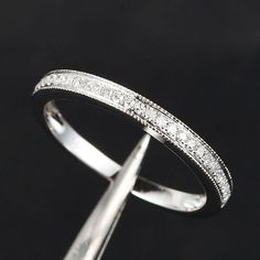 Half Eternity Band MILGRAIN Pave SI Diamond Solid 14K White Gold Wedding Ring on Etsy, $176.00