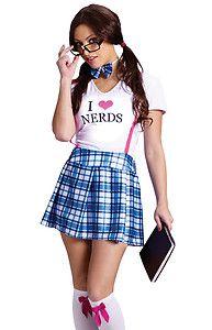 Sexy Funny Womens Nerd nerdy Schoolgirl Geek Halloween Costume | eBay