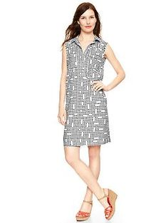Awesome digital dot print shirtdress from #Gap.  Wear now with colorful sandals or later with a blazer or leather jacket