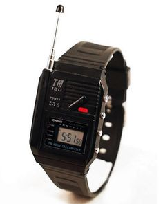 Casio TM-100. 1987.  FM Voice Transmitter Watch  Turn it on, speak into the microphone and any FM radio nearby can receive the signal. … S: yo fui a egb … #80scasio #casiotm100 #casiofmtransmitter #80sdesign #neontalk #80sstyle #80swatch #retrowatch #watchdesign #80sfashion #80sflashback #productdesign #industrialdesign