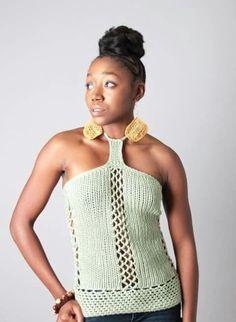 Medium Boho Crochet Knit Women's Olive Green Magnolia  Halter Fashion Top #Unbranded #Halter