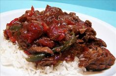 Easy Pepper Steak in the Slow Cooker: 2 lbs stew beef, 1 can or jar of marinara sauce, 1 onion diced, 1 green pepper diced, 2 tsp. of Kitchen Bouqet. Put everything in the slow cooker and cook 7-8 hrs on low or 5-6 hours on high. Serve with pasta or rice.