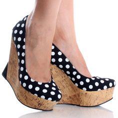 Black-Canvas Polka Dot Rockabilly Womens Heel Platform Wedge Shoes