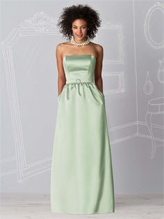 Strapless cocktail length satin bridesmaid dress BD0118