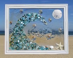 Unique beach window art by Luminosities! Blue abalone shell wave crashing on the… - Cool Glass Art Designs Sea Glass Crafts, Sea Crafts, Sea Glass Art, Stained Glass Art, Resin Crafts, Seashell Art, Seashell Crafts, Beach Pink, Glass Art Pictures