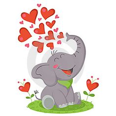 Cute elephant blowing hearts.