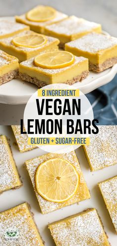 These Vegan Lemon Bars are a refreshingly tart & sweet dessert! A healthier take… These Vegan Lemon Bars are a refreshingly tart & sweet dessert! A healthier take on the classic, they're made with only 9 healthy ingredients + Sugar-Free. Healthy Vegan Dessert, Cake Vegan, Vegan Sweets, Healthy Dessert Recipes, Gourmet Recipes, Vegan Recipes, Sugar Free Vegan Desserts, Delicious Desserts, Vegetarian Desserts