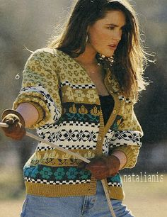 """Photo from album """"Verena on Yandex. Fair Isle Knitting, Hand Knitting, Norwegian Knitting, Fair Isle Pattern, Hand Knitted Sweaters, Knit Cardigan, Jeans, Knitwear, Knit Crochet"""