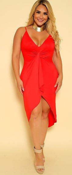 6c1b8aa80b0a0 Red plus Size Party Dress  The features includes a bold color with a  sleeveless design