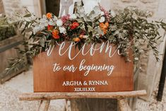 Wooden Welcome Wedding Sign with Orange Flower Decor | By Nataly J Photography | Intimate Wedding | Cripps Barn Wedding | 2020 Wedding | Foliage Wedding Decor | Orange Wedding Flowers | Black Tie Wedding | Cotswolds Wedding Venue | Wedding Sign | Wedding Decor