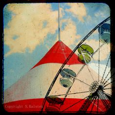 Carnival Ride Photograph Red Striped Circus Tent Ferris Wheel in the Clouds Vintage Black Borders 8x8 Carnival Wall Art