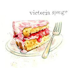 Teatime Treats Series - Vintage Cakes - Victoria Sponge Art Print