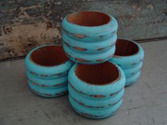 Turquoise Wooden Napkin Rings Set of 4 by turquoiserollerset, $8.00
