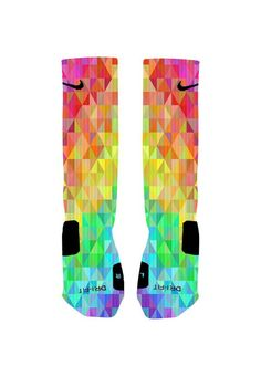 Custom Colorful Prism Socks Custom Nike Elite by NikkisNameGifts, $20.00