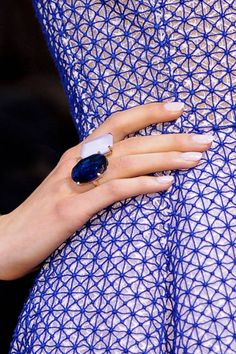 by Dior - The pale, ladylike lavender - Runway Nail Trends Fall 2012 Moda Mania, Dior Ring, Runway Nails, Dries Van Noten, Cristian Dior, Lilac, Purple, Periwinkle, Fashion Details