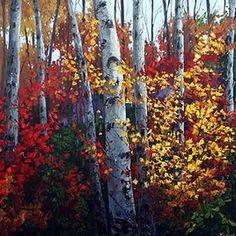 Autumn Fiesta II- Aspen Paintings and Birch Trees, Contemporary Aspen Art, Aspens and Birches Unique Paintings, Original Paintings, Aspen Trees, Birch Trees, Knife Art, Site Design, Giclee Print, Artsy, Autumn