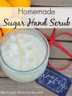Homemade Sugar Hand Scrub- Lemon Scrub or a DIY Mary Kay Satin Hands.  These are so easy and inexpensive to make and keep your hands nice and soft year round.