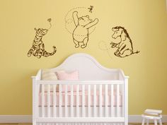 Classic Winnie the Pooh, Tigger, and Eeyore graphics vinyl wall decal. $57.00, via Etsy.