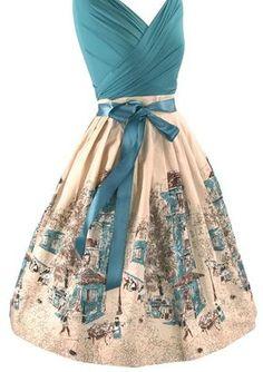Vintage 1950s Parisienne Scenic Skirt- New!