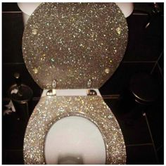 Gold Sparkle Toilet Seat Glitter toilet 3 the thronegold glitter