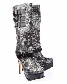 Iron Fist Sweet Skull O Mine Boots.enter code to get Iron Fist shoes for Off! Valid through midnight PST High Heel Boots, Heeled Boots, Shoe Boots, Women's Shoes, Ankle Boots, High Heels, Crazy Shoes, Me Too Shoes, High Hill Shoes