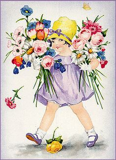 Little girl with arms full of flowers
