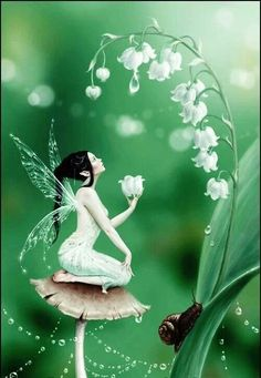 I love the Lily of the Valley and snail...not so much the fairy herself.