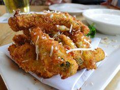 Lightly breaded fried zucchini.