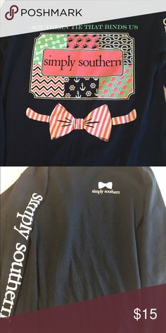 Simply Southern long sleeve tee Navy blue with pretty design on the back Simply Southern  Tops Tees - Long Sleeve