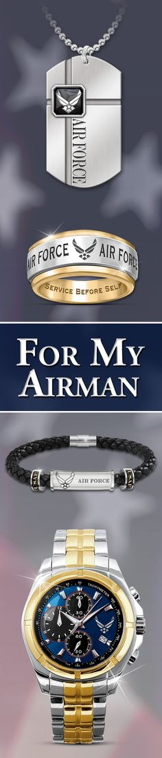 If you're a proud member of the United States Air Force, or if you know someone special who is, these bold men's jewelry designs soar with distinctive style. Being an Airman never looked so good!