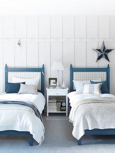 Larsson beds in Blakeney blue – Toptrendpin Coastal Bedrooms, Coastal Living Rooms, Coastal Curtains, Coastal Decor, Seaside Bedroom, Coastal Entryway, Coastal Bedding, Coastal Lighting, Modern Coastal
