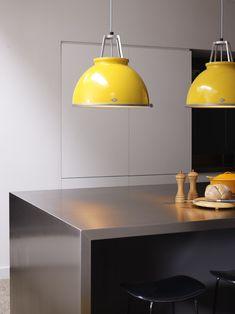Original BTC Titan Size 1 Ceiling Pendant Light - Yellow with White Interior Btc Lighting, Luxury Lighting, Interior Lighting, Home Lighting, Lighting Design, Lighting Ideas, Glass Pendant Light, Pendant Lamp, Pendant Lighting