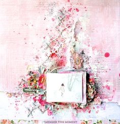 Scraps Of Elegance scrapbook kits: pink mixed media winter layout created using the Petals kit, by Lisa Griffith