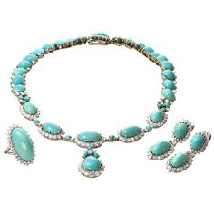 BOUCHERON Turquoise Diamond Necklace Earrings amp; Ring Set