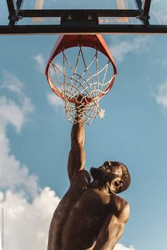 An attractive young black man playing basketball on a sunny day by Chelsea Victoria - Stocksy United Basketball Baby, Basketball Shooting, Basketball Pictures, Pont Paris, Chelsea Victoria, Basketball Photography, Pose Reference Photo, Young Black, Sports Photos