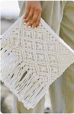Macrame Cotton Clutch Bag , Wedding Clutch ,Bride Bridesmaid , Macrame Tassel Pouch is part of Macrame - The item was made of cotton macrame yarn Zipper, lining Size Diy Macrame Wall Hanging, Macrame Art, Macrame Projects, Macrame Knots, Macrame Mirror, Macrame Curtain, Crochet Vintage, Macrame Purse, Armband Diy