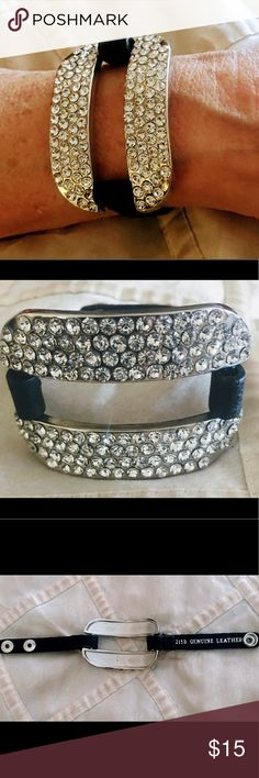 silver black genuine leather bling bling bracelet New arrival stunning genuine black leather over silver metal wth bling bling adjustable straps snap to fit all sizes 💕💕💕 mj bling Jewelry Bracelets