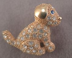 Signed Roman Pin; Gold Tone and Rhinestone Puppy c1980s by thejeweledbear on Etsy