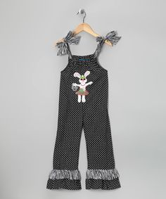 This Little Belles & Beaus Black Bunny Jumpsuit - Infant & Toddler by Little Belles & Beaus is perfect! #zulilyfinds