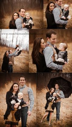Family portrait ideas- brown tones to go with brown background of early spring/late fall. Photos by Munchkins and Mohawks Photography.