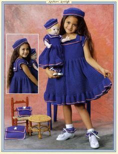 Dresses to Crochet for Dolly and Me by Delsie Rhoades size 2, 4 and 6 18 inch doll pattern. $7.95, via Etsy.