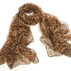 Chicastic Leopard Animal Print Silk Chiffon S & Wraps Chiffon Scarf, Print Chiffon, Silk Chiffon, Leopard Animal, Brown Leopard, Vintage Fashion 1950s, Victorian Fashion, Leopard Print Scarf, How To Wear Scarves