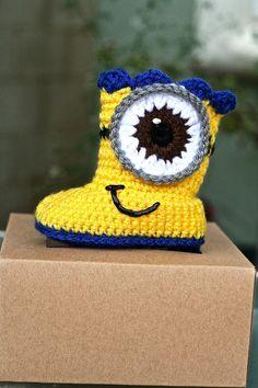 Minion crochet all handmade baby boot boy by birthdayparty1973