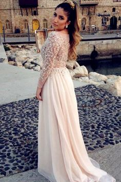 Hot Sale A-line Illusion Scoop Neckline Chiffon Long Prom Dress With Beaded